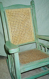 Cane weave rocker, after repair by Home Enhancements.