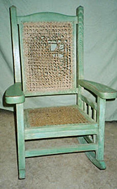 Cane weave rocker, before repair by Home Enhancements.