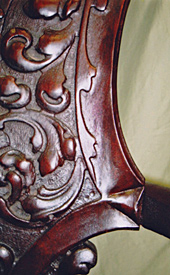 Carved back rocker detail, after repair by Home Enhancements.