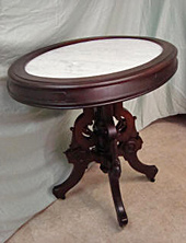 Victorian marble-top table, after repair by Home Enhancements.